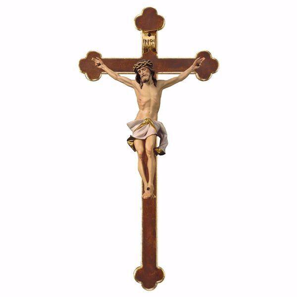 Immagine di Crocifisso Nazareno Bianco su Croce Barocca cm 67x35 (26,4x13,8 inch) Scultura da parete dipinta ad olio in legno Val Gardena