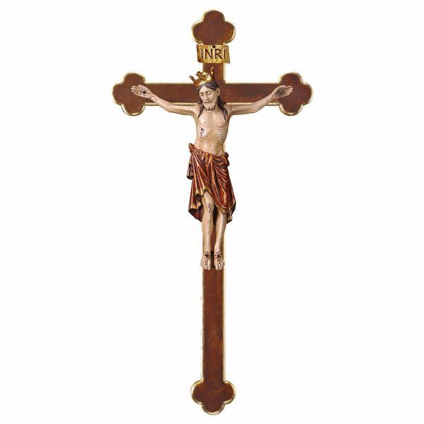 Picture of Romanesque Crucifix Red with Crown on baroque Cross cm 67x35 (26,4x13,8 inch) wooden Wall Sculpture antiqued with gold Val Gardena