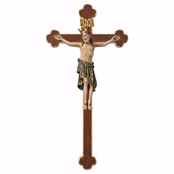 Picture of Romanesque Crucifix Blue with Crown on baroque Cross cm 67x35 (26,4x13,8 inch) wooden Wall Sculpture antiqued with gold Val Gardena