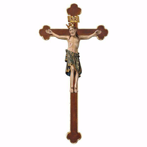 Immagine di Crocifisso Romanico Blu con Corona su Croce Barocca cm 67x35 (26,4x13,8 inch) Scultura da parete antichizzata oro in legno Val Gardena
