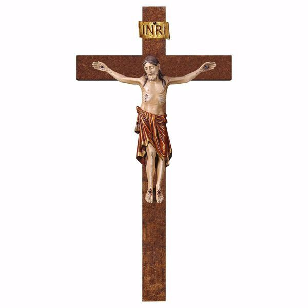 Picture of Romanesque Crucifix Red on straight Cross cm 72x40 (28,3x15,7 inch) wooden Wall Sculpture antiqued with gold Val Gardena