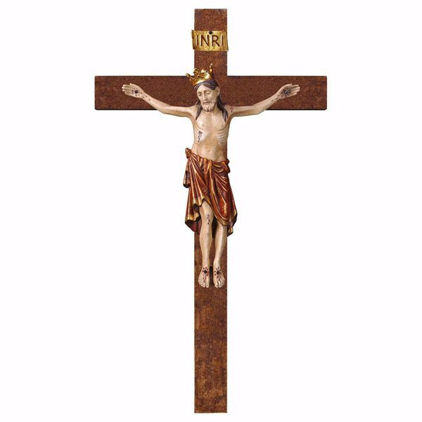 Picture of Romanesque Crucifix Red with Crown on straight Cross cm 72x40 (28,3x15,7 inch) wooden Wall Sculpture antiqued with gold Val Gardena