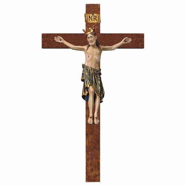 Picture of Romanesque Crucifix Blue with Crown on straight Cross cm 72x40 (28,3x15,7 inch) wooden Wall Sculpture antiqued with gold Val Gardena
