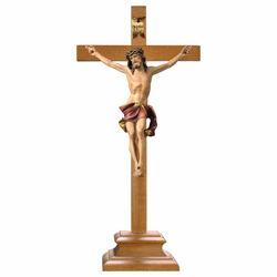 Immagine di Crocifisso Nazareno Rosso su Croce con piedistallo cm 75x35 (29,5x13,8 inch) Scultura dipinta ad olio in legno Val Gardena