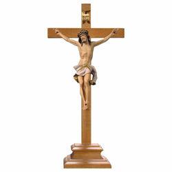 Immagine di Crocifisso Nazareno Bianco su Croce con piedistallo cm 75x35 (29,5x13,8 inch) Scultura dipinta ad olio in legno Val Gardena