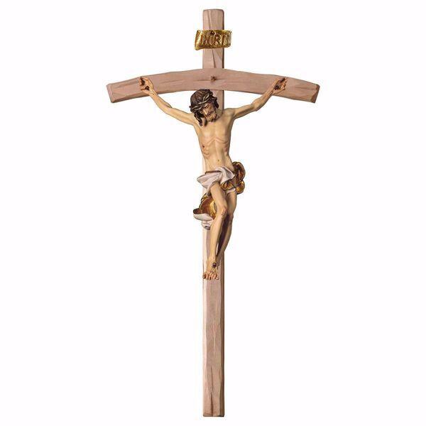 Immagine di Crocifisso Barocco Bianco su Croce curva cm 78x41 (30,7x16,1 inch) Scultura da parete dipinta ad olio in legno Val Gardena