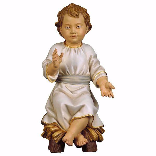 Immagine di Gesù Bambino seduto su culla cm 100 (39,4 inch) Statua dipinta ad olio in legno Val Gardena