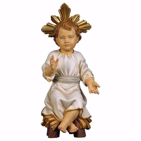 Immagine di Gesù Bambino con Aureola seduto su culla cm 35 (13,8 inch) Statua dipinta ad olio in legno Val Gardena
