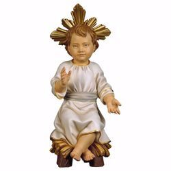 Picture of Infant Jesus with Aureole sitting on the cradle cm 100 (39,4 inch) wooden Statue painted with oil colours Val Gardena