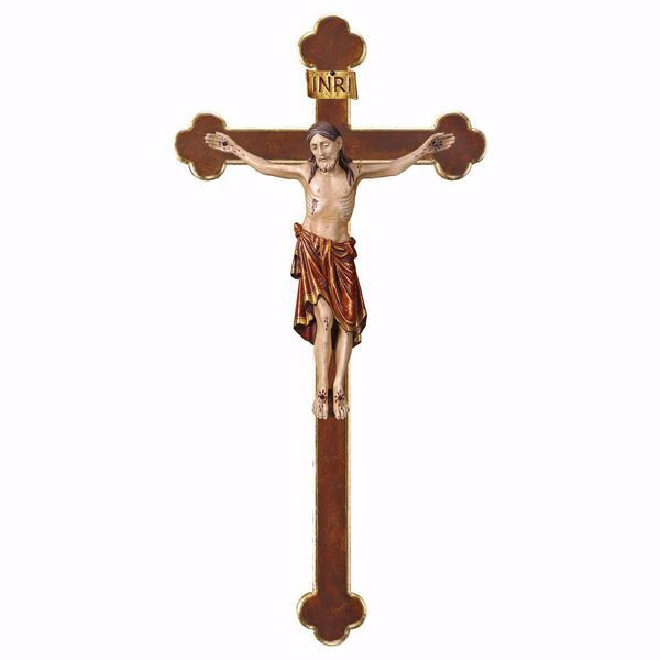 Picture of Corpus of Christ Romanesque Red on Baroque Cross cm 84x44 (33,1x17,3 inch) wooden Statue antiqued with gold Val Gardena
