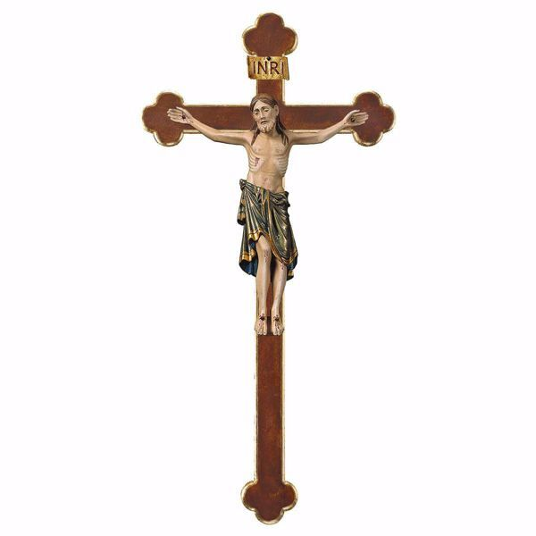 Picture of Corpus of Christ Romanesque Blue on Baroque Cross cm 84x44 (33,1x17,3 inch) wooden Statue antiqued with gold Val Gardena