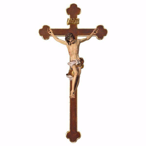 Immagine di Crocifisso Barocco Bianco su Croce Barocca cm 124x62 (55,9x24,4 inch) Scultura da parete dipinta ad olio in legno Val Gardena