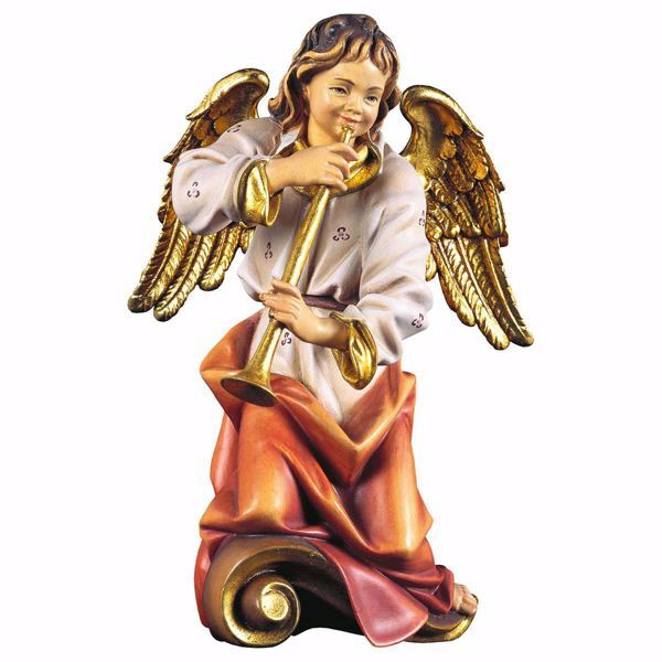 Picture of Choir Angel with flute cm 23 (9,1 inch) Val Gardena wooden Sculpture painted with oil colours