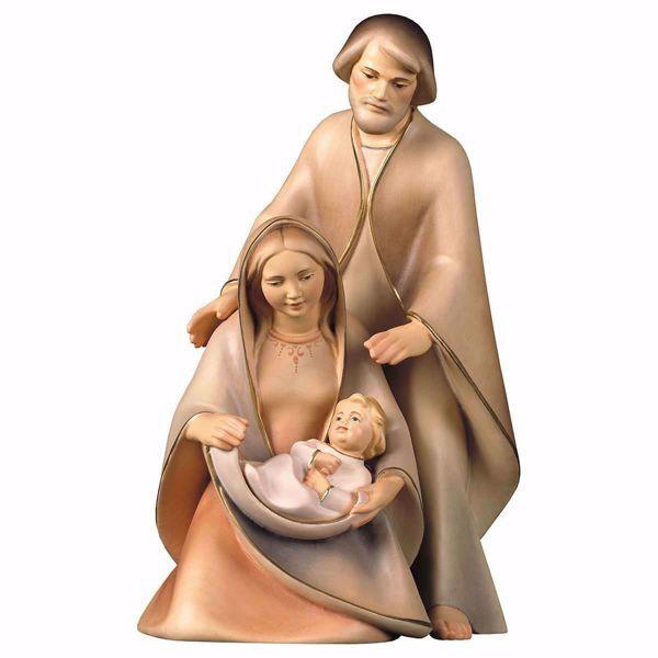 Immagine di Natività La Speranza Set 3 Pezzi cm 13 (5,1 inch) Presepe in blocco Sacra Famiglia in stile moderno dipinto ad olio in legno Val Gardena