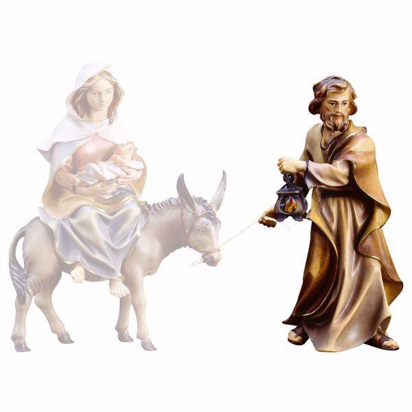 Immagine di San Giuseppe cm 12 (4,7 inch) Presepe Ulrich dipinto a mano Statua artigianale in legno Val Gardena stile barocco