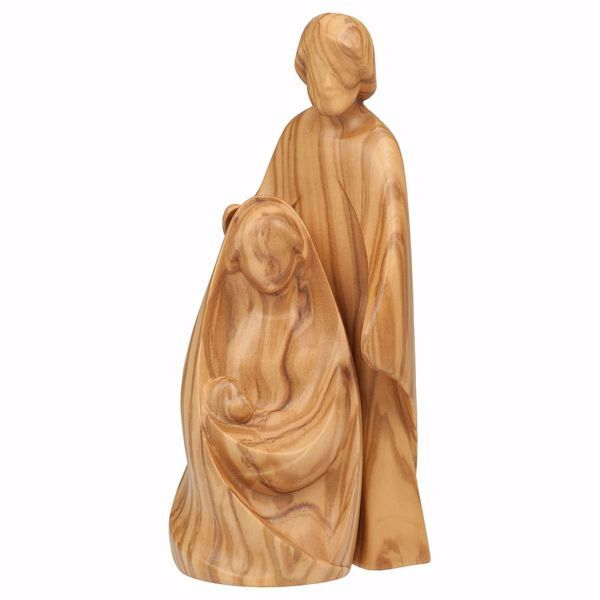 Picture of Joy Nativity Scene Set 2 Pieces cm 12 (4,7 inch) wooden block Crib modern style Holy Family natural colour Val Gardena