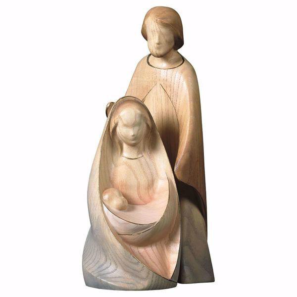 Imagen de Belén Alegría Set 2 Piezas cm 12 (4,7 inch) Belén en bloque Sagrada Familia en estilo moderno pintado con acuarelas en madera Val Gardena