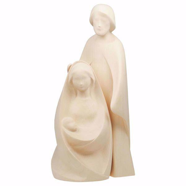Immagine di Natività La Gioia Set 2 Pezzi cm 18 (7,1 inch) Presepe in blocco Sacra Famiglia in stile moderno colore naturale in legno Val Gardena