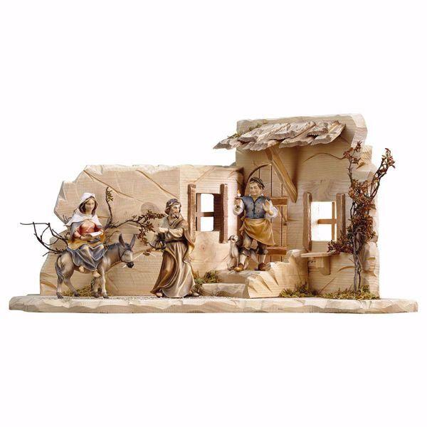 Imagen de Viaje a Belén con Tabernero y Taberna cm 23 (9,1 inch) Belén Ulrich pintado a mano Estatuas artesanales de madera