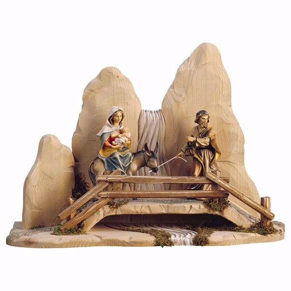 Picture of Flight to Egypt with Bridge 5 Pieces cm 23 (9,1 inch) hand painted Ulrich Nativity Scene Val Gardena wooden Statues baroque style