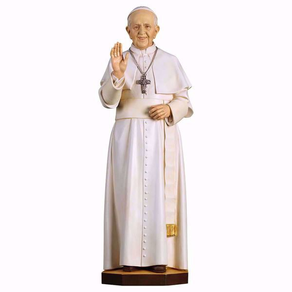 Immagine di Papa Francesco cm 140 (55,1 inch) Statua dipinta ad olio in legno Val Gardena