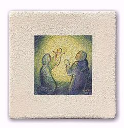 Picture of Miniature Christmas Holy Family cm 10 (3,9 inch) Wall / Desk hand painted pastel colors picture in white refractory clay Ceramica Centro Ave Loppiano