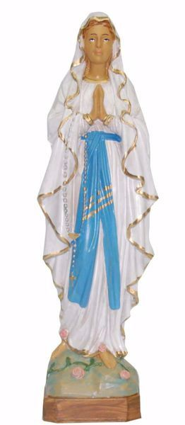 Picture of Our Lady of Lourdes cm 25 (9,8 inch) Euromarchi Statue in plastic PVC for outdoor use