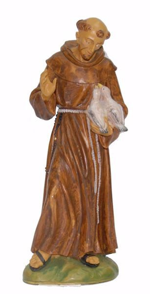 Picture of Saint Francis of Assisi with animals cm 25 (9,8 inch) Euromarchi Statue in plastic PVC for outdoor use