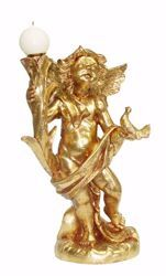 Imagen de Ángel Portavela cm 45 (17,7 inch) Estatua Euromarchi Oro Decoración navideña plástico PVC