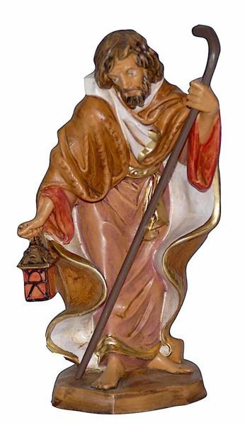 Picture of Saint Joseph cm 16 (6,3 inch) Lux Euromarchi Nativity Scene Traditional style in wood stained plastic PVC for outdoor use