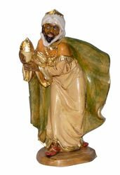 Picture of Balthazar Black Wise King cm 16 (6,3 inch) Lux Euromarchi Nativity Scene Traditional style in wood stained plastic PVC for outdoor use
