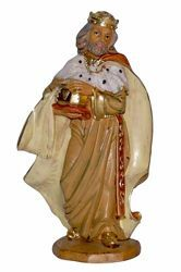 Picture of Caspar White Wise King cm 16 (6,3 inch) Lux Euromarchi Nativity Scene Traditional style in wood stained plastic PVC for outdoor use