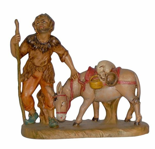 Picture of Shepherd with Donkey cm 16 (6,3 inch) Lux Euromarchi Nativity Scene Traditional style in wood stained plastic PVC for outdoor use