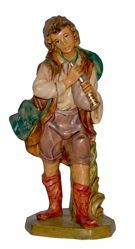 Picture of Shepherd with Flute cm 16 (6,3 inch) Lux Euromarchi Nativity Scene Traditional style in wood stained plastic PVC for outdoor use