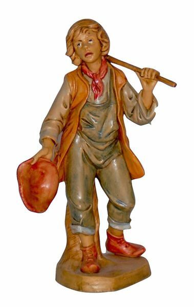 Picture of Shepherd with Stick cm 16 (6,3 inch) Lux Euromarchi Nativity Scene Traditional style in wood stained plastic PVC for outdoor use