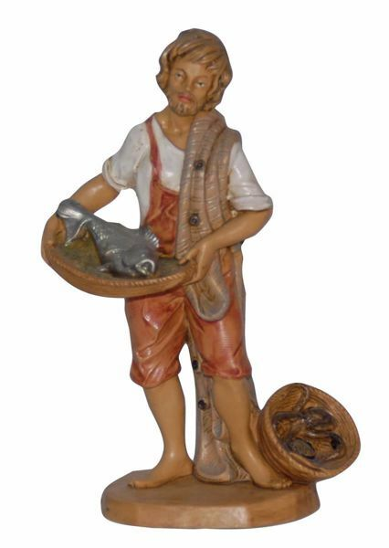Picture of Fishmonger cm 16 (6,3 inch) Lux Euromarchi Nativity Scene Traditional style in wood stained plastic PVC for outdoor use