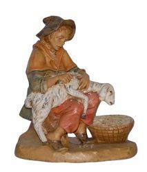 Picture of Sheep Shearer cm 16 (6,3 inch) Lux Euromarchi Nativity Scene Traditional style in wood stained plastic PVC for outdoor use