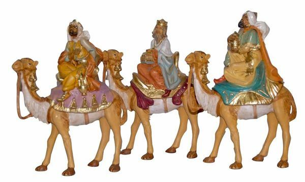 Picture of 3 Wise Kings on Camel Set cm 16 (6,3 inch) Lux Euromarchi Nativity Scene Traditional style in wood stained plastic PVC for outdoor use