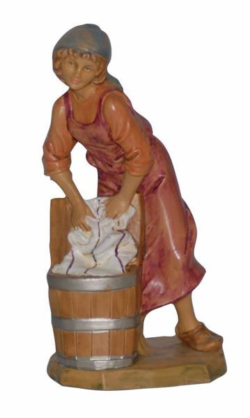 Picture of Washerwoman cm 16 (6,3 inch) Lux Euromarchi Nativity Scene Traditional style in wood stained plastic PVC for outdoor use
