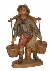 Picture of Shepherd with Water cm 16 (6,3 inch) Lux Euromarchi Nativity Scene Traditional style in wood stained plastic PVC for outdoor use