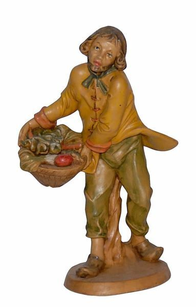 Picture of Shepherd with Basket cm 16 (6,3 inch) Lux Euromarchi Nativity Scene Traditional style in wood stained plastic PVC for outdoor use