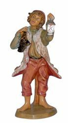 Picture of Shepherd with Lantern cm 16 (6,3 inch) Lux Euromarchi Nativity Scene Traditional style in wood stained plastic PVC for outdoor use
