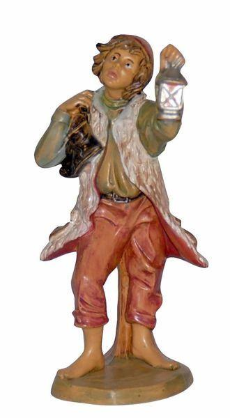 Immagine di Pastore con Lanterna cm 16 (6,3 inch) Lux Presepe Euromarchi in plastica PVC per esterno tinto legno Stile Tradizionale