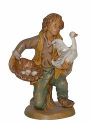 Picture of Shepherd with Goose cm 16 (6,3 inch) Lux Euromarchi Nativity Scene Traditional style in wood stained plastic PVC for outdoor use