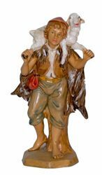 Picture of Shepherd with Sheep cm 16 (6,3 inch) Lux Euromarchi Nativity Scene Traditional style in wood stained plastic PVC for outdoor use