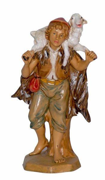 Immagine di Pastore con Pecora cm 16 (6,3 inch) Lux Presepe Euromarchi in plastica PVC per esterno tinto legno Stile Tradizionale