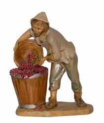 Picture of Shepherd with Grape cm 16 (6,3 inch) Lux Euromarchi Nativity Scene Traditional style in wood stained plastic PVC for outdoor use