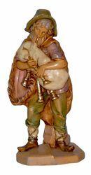 Immagine di Pastore con Zampogna cm 16 (6,3 inch) Lux Presepe Euromarchi in plastica PVC per esterno tinto legno Stile Tradizionale