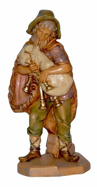 Picture of Bagpiper Shepherd cm 16 (6,3 inch) Lux Euromarchi Nativity Scene Traditional style in wood stained plastic PVC for outdoor use