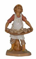 Picture of Shepherd with Bread cm 16 (6,3 inch) Lux Euromarchi Nativity Scene Traditional style in wood stained plastic PVC for outdoor use